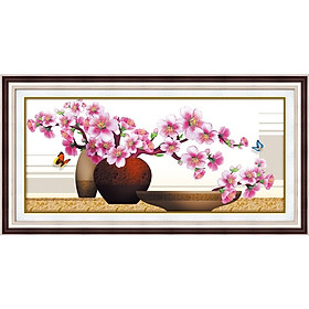 Tranh thêu chữ thập Bình Hoa (90*45cm) chưa thêu
