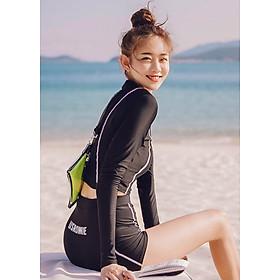 Bikini 2 mảnh tay dài chống nắng, quần đùi cạp cao kín đáo, màu đen khỏe khoắn | KT062