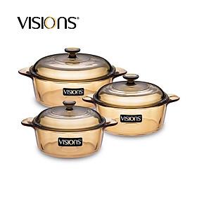 Bộ 3 nồi thuỷ tinh Visions (loại nhỏ) VS-336 - Xuất xứ từ Pháp - Hàng chính hãng