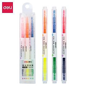 Bút highlight dấu dòng 2 đầu Deli - 3 cây 6 màu - nét trơn mượt, màu tươi sáng - 3 chiếc / Hộp - S736