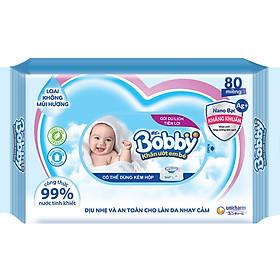 Khăn ướt Bobby NANO Bạc kháng khuẩn gói 80 tờ không hương