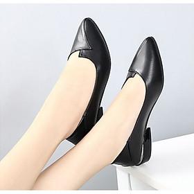 Giày bít nữ da mềm gót cao 3p
