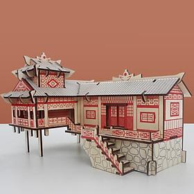 Đồ chơi lắp ráp gỗ 3D Mô hình Nhà sàn Laser