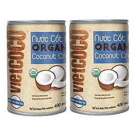 Combo 2 Lon Nước cốt dừa organic Vietcoco 400ml