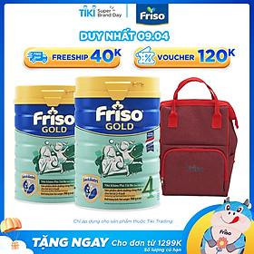 Bộ 2 Lon Sữa Bột Friso Gold 4 Cho Trẻ Từ 2-4 Tuổi 900g + Tặng Balo Bỉm Sữa