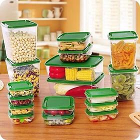 COMBO Bộ Hộp Nhựa 17 Món Cao Cấp Dùng Được Lò Vi Sóng Kèm Nắp Đậy Màu Xanh - Tặng 1 phễu rót nước, thức ăn  ( màu ngẫu nhiên )