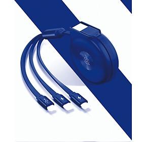 Dây cáp sạc 3 đầu Lightning, Micro USB, Type C rút gọn USAMS cực tốt, siêu bền - Hàng chính hãng