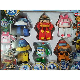 Đồ chơi ngộ nghĩnh đáng yêu - đồ chơi trẻ em - Bộ 6 chiếc xe đồ chơi biến hình biệt đội xe robocar Poli Super Wings