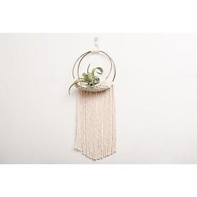 Giỏ treo trang trí lẵng hoa giỏ treo cây không khi khung tròn tết dây thủ công macrame