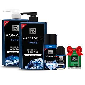 Bộ Romano Force: Dầu gội 650g, sữa tắm 650g, xịt khử mùi 150ml,lăn khử mùi 50ml +Tặng kèm nước hoa bỏ túi 18ml