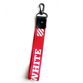 Móc khóa dây Strap dây vải chữ WHITE - đỏ