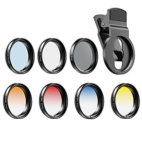 APEXEL APL-37UV-7G Professional 7in1 Phone Graduated Lens Filter Kit 37mm Grad Red Blue Yellow Orange Filters+CPL ND
