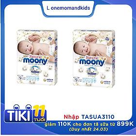 COMBO 2 Bỉm - Tã dán Moony Natural size S- 58 miếng (cho bé 4-8kg)