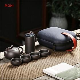 Bộ bình trà mini có túi đi du lịch tiện lợi, thích hợp cho 2-4 người uống, gồm ấm trà, 4 tách và bình trà - Chính hãng