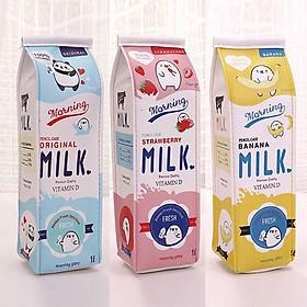 Bộ 2 hộp đựng bút hình hộp sữa MILK cho bé, phối 2 màu khác nhau, giao màu ngẫu nhiên + Tặng kèm hình dán nam châm cho bé