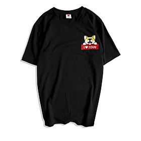 Áo Phông Cotton Unisex Hoạ Tiết Corgi Love You Mã 717 có bigsize vải thun chất
