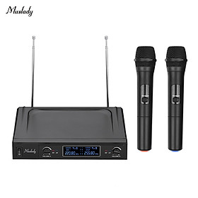 Muslady V1 VHF Wireless Microphone System 2 Handheld Mics & 1 Receiver with LCD Display for Karaoke Home Entertainment