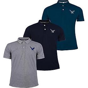 Áo thun nam cổ bẻ chính hãng DOKA dáng thể thao nam cao cấp được thêu logo sắc xảo tông màu cơ bản - Combo 3 áo Xám Xanh đen Xanh cổ vịt - DBM30736