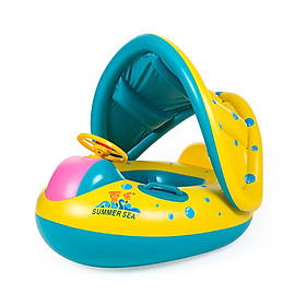 Hình đại diện sản phẩm Adjustable Sunshade Baby Children Swim Inflatable Float Seat Boat Swimming Ring Safe