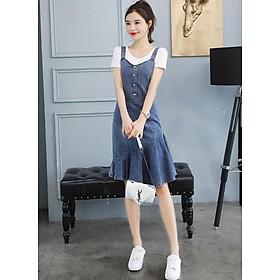 Đầm Yếm Jean Kèm Áo Thun