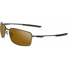 Oakley Men's OO4075 Square Wire Rectangular Metal Sunglasses, Matte Black/Black Iridium Polarized, 60 mm