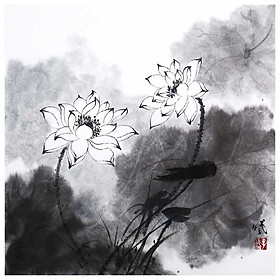 Tooarts Lotus in Breeze Chinese Painting Wall Art Artist Hand-Painted Chinese Brush Painting Traditional Decoration Home
