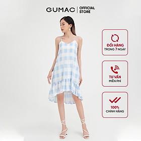 Đầm nữ 2 dây phối bèo GUMAC họa tiết caro trẻ trung, năng động DB482
