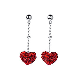 Bông tai nữ bạc thật khuyên tai bạc trái tim đỏ dáng dài