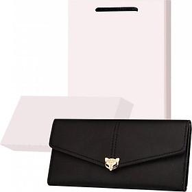 Bộ quà tặng ví / bóp nữ cao cấp có hộp túi kèm theo - Đen