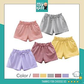 Quần Short thun bé gái màu sắc tươi sáng, chất mềm mịn, co giãn, thời trang và an toàn cho bé
