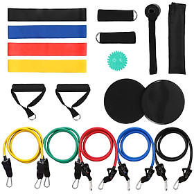 18Pcs Resistance Bands Set Workout Fintess Exercise Rehab Bands Loop Bands Tube Bands Door Anchor Ankle Straps Cushioned