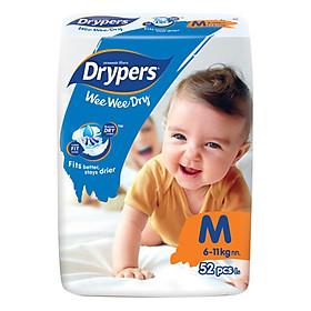 Tã Dán Drypers Wee Wee Dry Gói Đại M52 (52 Miếng)