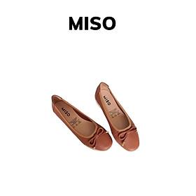 Giày búp bê nữ basic da thật đế thể thao phối nơ Miso M1005