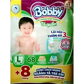 Tã quần Bobby - Đệm Lưng Thấm Mồ Hôi L68 (68 miếng) - Tặng 8 miếng trong gói