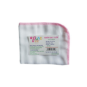 Khăn sữa em bé Pure 3 lớp kích thước 24*28 cm trắng