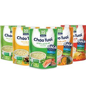 Lốc 5 - Cháo Tươi Baby Sài Gòn Food 240g, Gà, Thịt Bằm, Tôm, Lươn, Cá Hồi
