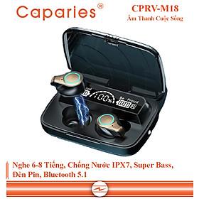 Tai Nghe Bluetooth 5.1 cao cấp  CAPARIES M18 - (Tai Nghe Không Dây) Chống Nước - Chống ồn - Tích Hợp Micro - Tự Động Kết Nối - Nhỏ gọn - Âm Thanh 8.0 HD - Tương Thích Cao Cho Tất Cả Điện Thoại CHÍNH HÃNG