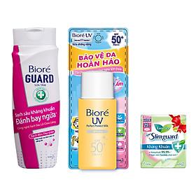 Bộ kháng khuẩn trắng mịn ( 1 sữa tắm 220g + 1 chống nắng 25ml) Tặng 1 Băng vệ sinh siêu mỏng Laurier 7 Miếng
