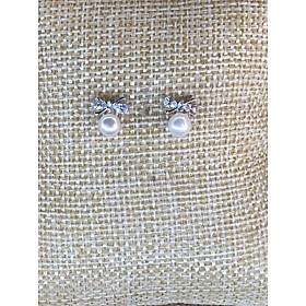 Bông Tai Ngọc Trai Nơ Bạc 925