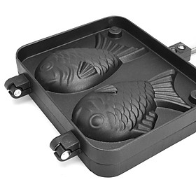 2 Non-stick Fish Shaped Waffle Pan Maker Household 2 Non-stick Bakewares Waffle Machine Anti-scalding Baking Tools Home Cooking Dessert Pastry Wafer Food