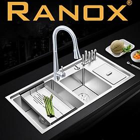 Chậu rửa bát Hàn Quốc RANOX 3 hố và vòi rút dây RN4491