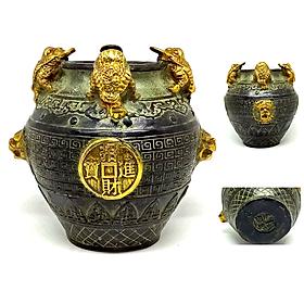 Hũ Đựng Tiền Vàng hay còn gọi là Hũ Tài Lộc (Cỡ Lớn) - Chất liệu Đồng Thau lên men xanh giả cổ - Phong thuỷ tài lộc giàu sang phú quý