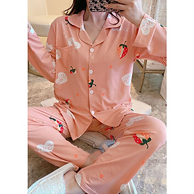 Đồ mặc nhà đồ ngủ cao cấp pijama cho nữ cottong lông thỏ màu hồng có cổ quần dài áo dài thu đông họa tiết dâu tây đáng yêu 2020