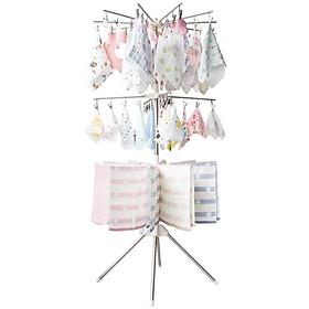 Cây phơi đồ đa năng inox 3 tầng cao cấp gấp gọn - Tặng kèm 10 móc nhôm phơi quần áo cho bé