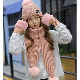 Bộ mũ len nữ kèm khăn và găng tay phong cách Hàn, sét nón len lông thỏ cao cấp