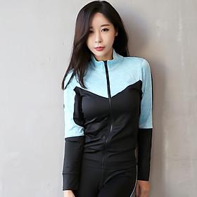 Áo khoác thể thao nữ cổ trụ phối màu Gymlink YJ102