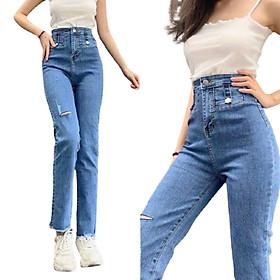 Quần jean dài nữ cao cấp xinh xắn màu xanh