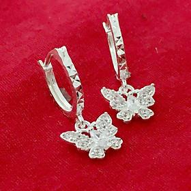 Bông tai bạc trẻ con Bạc Quang Thản thiết kế kiểu dáng dài treo hình con Bướm gắn đá màu trắng chất liệu bạc ta - QTBT38a