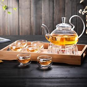 Combo bộ ấm chén pha trà thủy tinh chịu nhiệt kèm khay trà gồm ấm có lõi lọc thủy tinh 6 chén trà 2 lớp và 1 đế nến châm trà và 1 khay đựng bằng gỗ  tre - Hàng chính hãng