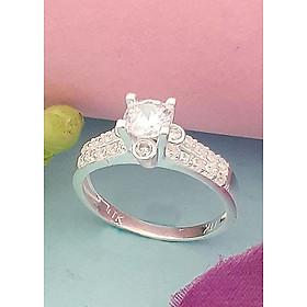 Hình đại diện sản phẩm Nhẫn nữ ổ cao gắn đá màu trắng 100% bạc ta không xi mạ trang Sức Bạc Quang Thản - BQTJ26-88(bạc)